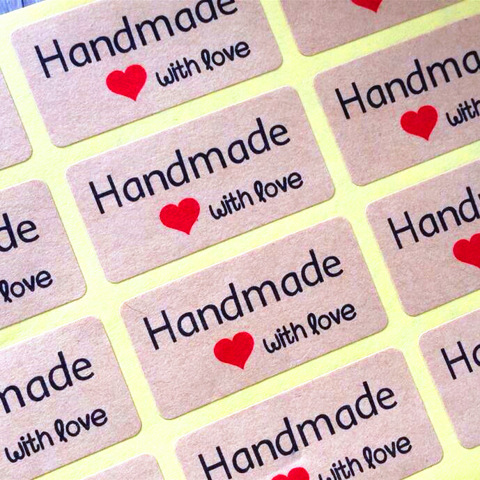 120pcs NEW Handmade With Love Package Seal Label Products Nice Kraft Paper Heart  Adhesive Baking Seal Sticker