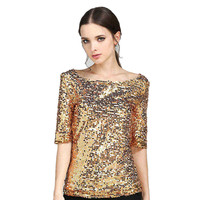 2018 plus size S 5XL New Arrival Summer women sequin T shirt High quality gorgeous shirt for girls women clothing sequined Top