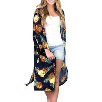 Women Casual Vintage Kimono Cardigan Ladies 2018 Summer Long Crochet Chiffon Kimono preto Loose flora printed Blouse Tops Black