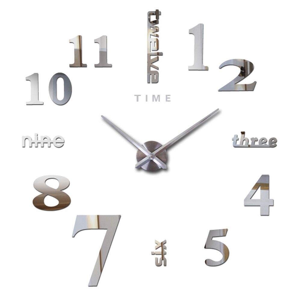 Self-adhesive Large Wall Clock Silent Decorative Time 3D DIY Oversize Kitchen Clock Acrylic Wall Sticker Mirrors Big Wall Clocks