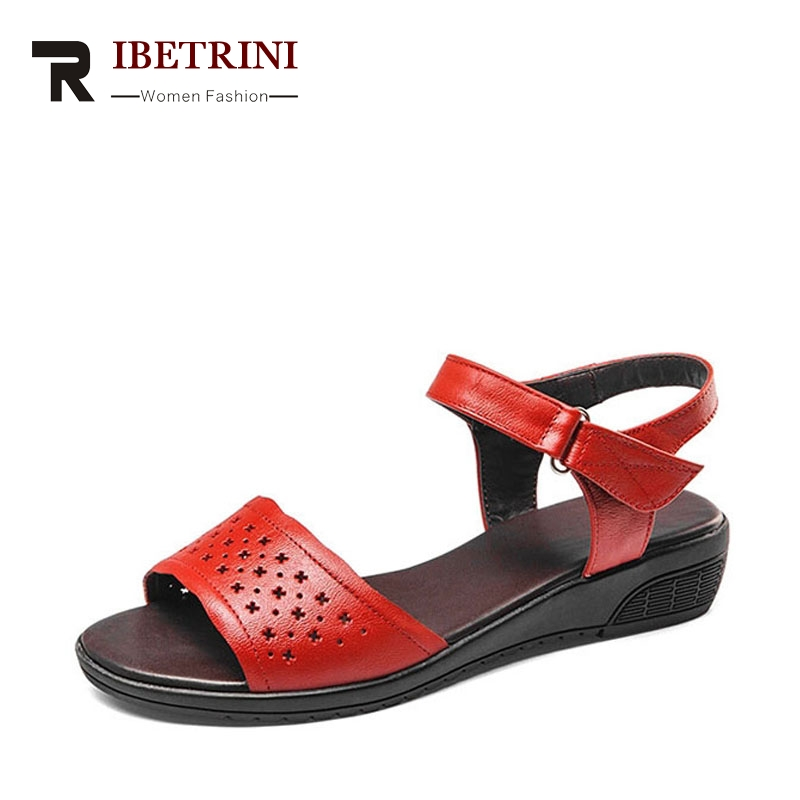 RIBETRINI Women Summer Comfort Casual Shoes Quality Cow Leather Cutout Printed Ankle Strap Sandals With Low Heel Wedges Platform phyanic 2017 gladiator sandals gold silver shoes woman summer platform wedges glitters creepers casual women shoes phy3323
