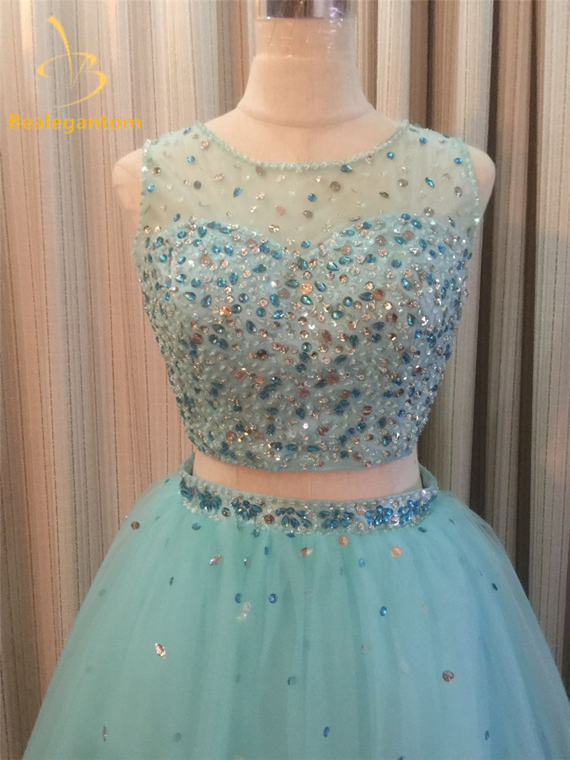 2018 New Two pieces Elegant Quinceanera Dresses Ball Gown With Beading 15 Years Long Prom Debutante Gown Sweet 16 Dresses QA874 in Quinceanera Dresses from Weddings Events