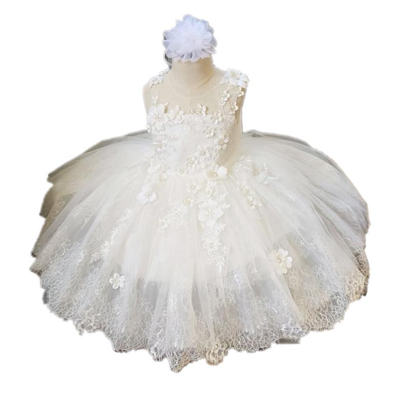 BBWOWLIN blanc bébé fille vêtements princesse robe pour 1-6 ans fête d'anniversaire tenue baptême étudiants cadeaux d'obtention du diplôme 9079