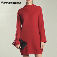 OWLPRINCESS New Sexy Long Sleeve Women Winter Dress Fashion Simple Loose Black Dress Gothic Warm Comfortable Ladies Dresses