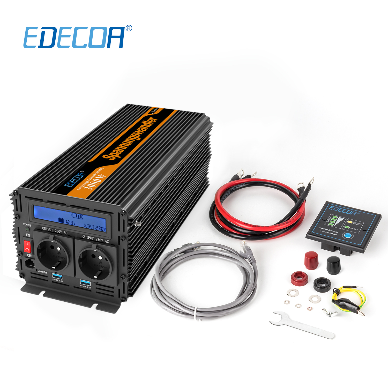 power inverter 3000W AC 220V 230V 240V DC 12V modified sine wave with 5V 2.1A USB LCD display and remote controller