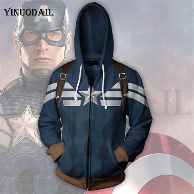 Avengers 4 Endgame Men And Women Zipper Hoodies Captain America 3D Hooded Jacket Superhero Sweatshirt Streetwear Cosplay Costume