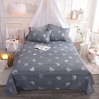 Cute Fashion Gray White Heart Pattern Cotton Flat Sheets 3Pcs Queen Size Bed Sheet For Adults Bedding Set Pillow Case Bedspread