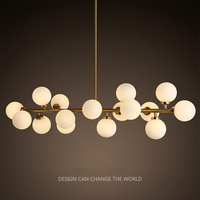 Nordic minimalist 16 heads iron chandelier. glass ball pipe LED lamp living room clothing. DNA molecule Beanstalk lights.