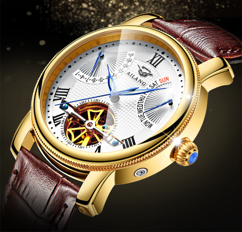 AILANG New Roman Men Multi-functional Tourbillon Watches Automatic Self wind Real Leather Wrist watch Week Calendar Relojes W022 brand ailang men tourbillon automatic watches self wind real leather business dress wrist watch moon phrase relojes 3atm nw3302