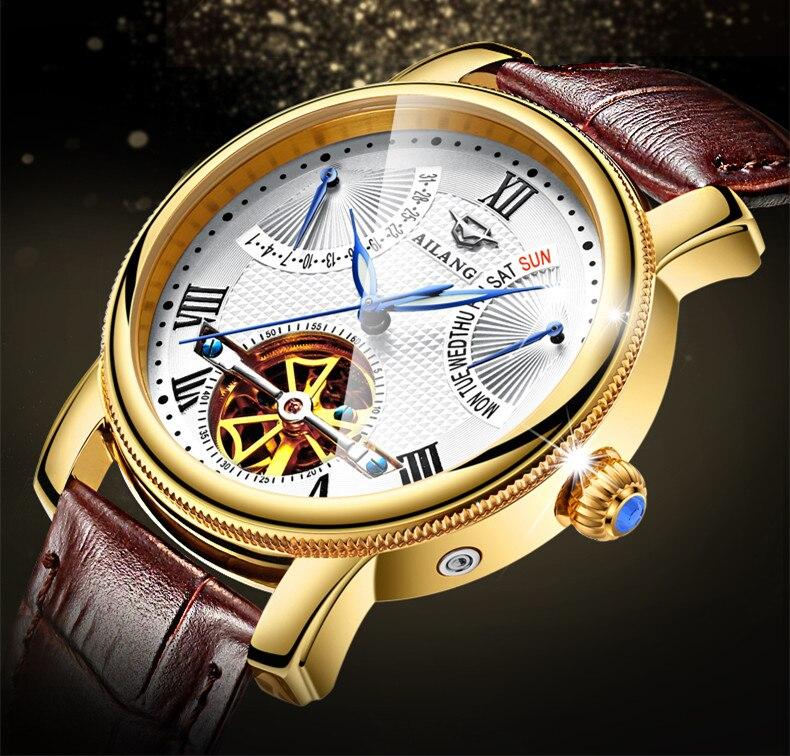 Ailang 새로운 로마 남자 다기능 뚜르 비옹 시계 자동 자기 바람 진짜 가죽 손목 시계 주 달력 relojes w022-에서기계식 시계부터 시계 의  그룹 1