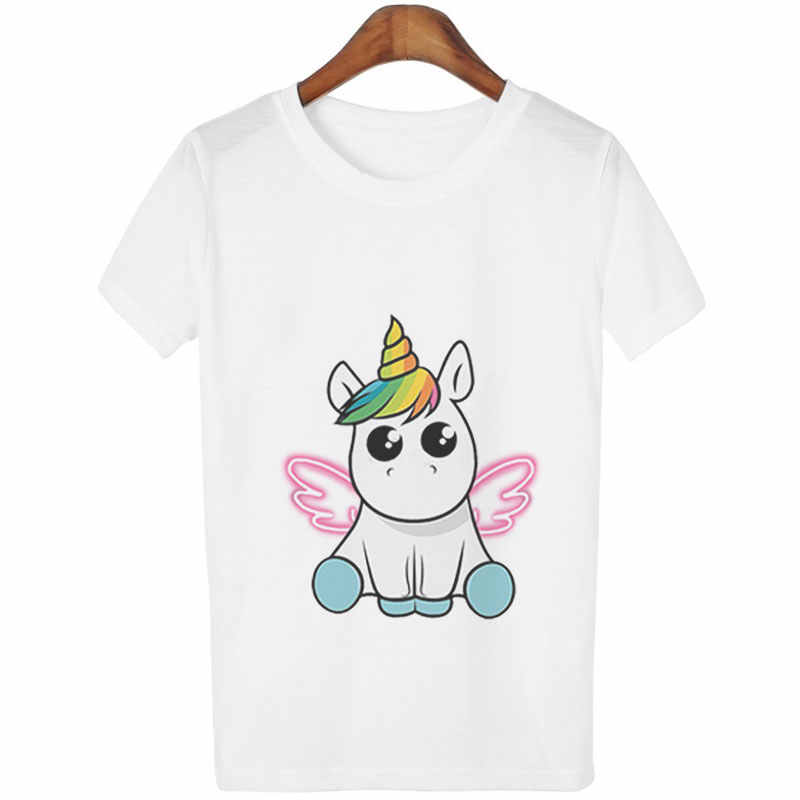 Fashion Cute Unicorn T Shirt Women Girls Cartoon Print Casual Short Sleeves Tops Korean Style Kawaii Unicornio T-Shirts
