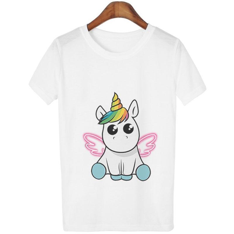 Fashion Cute Unicorn T Shirt Women Girls Cartoon Print Casual Short Sleeves Tops Korean Style Kawaii Unicornio T-Shirts