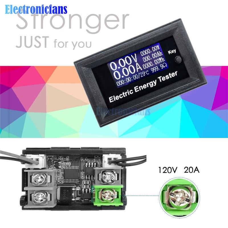 Digital Voltmeter Ammeter Voltage LCD Current Meter Amperimetro Wattmeter Volt Capacity Tester Indicator DC 120V 20A LCD Monitor