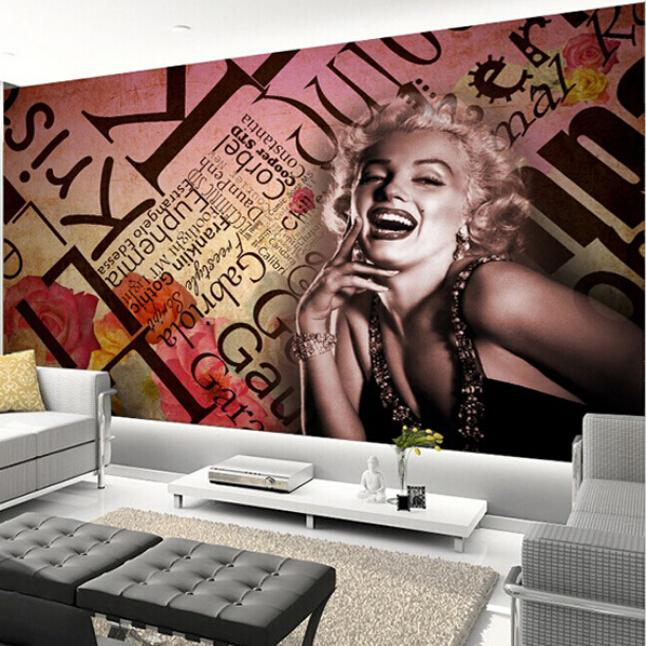 Custom Any Size 3D Wall Mural Wallpapers Retro Marilyn Monroe Bar Business  Wallpaper(China ( Nice Look