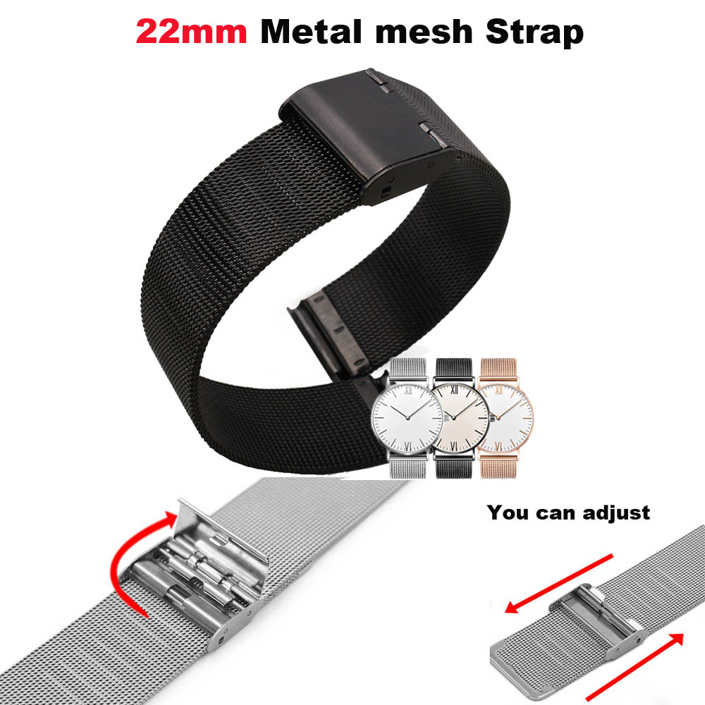 22mm Metal Bracelet Band For Xiaomi Huami Amazfit GTR 47mm Pace Stratos 2 Watch Strap For Samsung Galaxy 46mm Gear S3 Pulseras