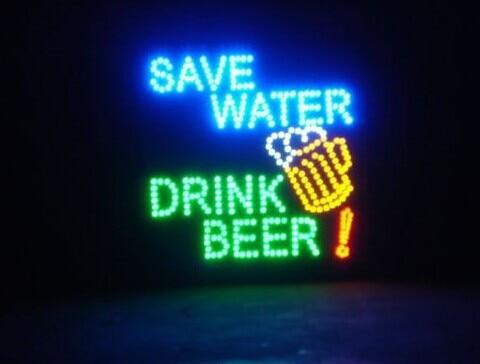 2017 aliexpress nouveauté graphique personnalisé 19x19 pouces intérieur Ultra lumineux clignotant Led économiser l'eau boisson signe de bière