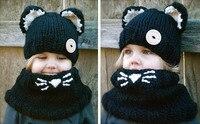 Baby Girl Boy Toddler Infant Panda Knit Hat Cap +Scarf Muffler Fox Cartoon Bebe Beanie Kids Boys Hats Caps Scarves Accessories