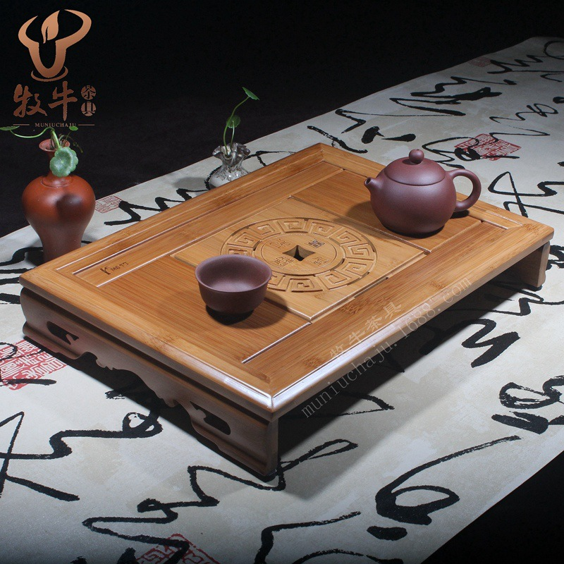 The mixed batch of bamboo tea tray tea accessories gifts logical administration and harmonious people Kung Fu tea set custom LOG wholesale dual dutch piece suit yixing tea tray ceramic ru ding black dragon tea