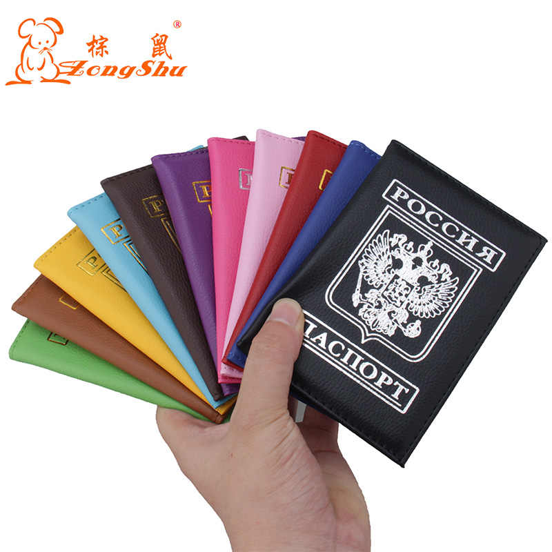 Russian men's&women's passport cover for traveling documents, credit card holder for visiting cards and travel passport holder