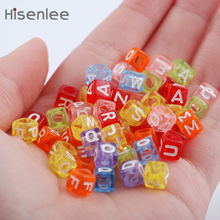 Hisenlee Handmade DIY Mixed Color Square Alphabet Letter Acrylic Cube For Jewelry Making Loom Band Bracelets 200pcs 6x6mm