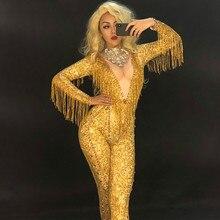 купить Gold Tassels Crystals Jumpsuit Female Singer Dancer Sexy Leggings Costume Big Stretch Bodysuit Nightclub Oufit Party Wear Outfit по цене 5044.89 рублей