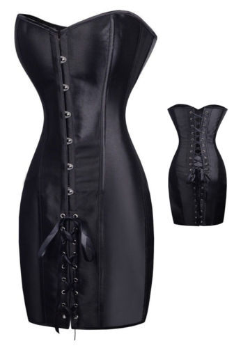 bc7d2bdc919 Sexy Gothic Black Satin Sexy Slim Fancy Corset Dress Clubwear Steampunk  outfit Overbust Bustier Halloween Tops S 2XL-in Bustiers   Corsets from  Women s ...