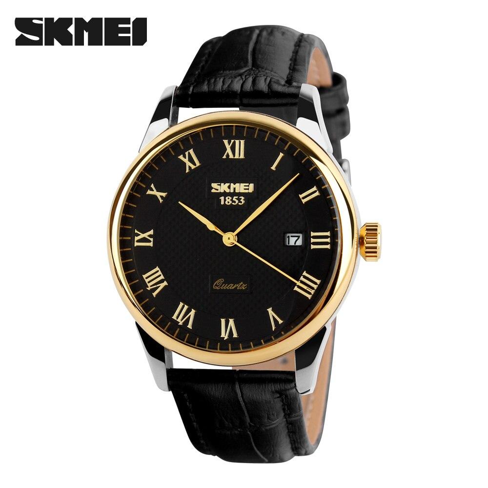 2019 SKMEI Top Brand Leather Strap Business Men Quartz Watch Waterproof Male Wristwatch Clock Men s