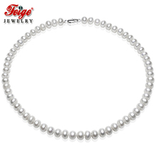 Special offer Womens Pearl Jewelry Necklace 6-7mm White Natural Freshwater Choker Necklaces Fine By FEIGE