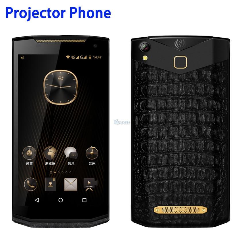 China Kcosit VM2 Projetor Android Telefone Portátil de Negócios de Luxo De Couro De Smartphones 5.9 FHD 120 Lumen 16.0MP Câmera GPS OTG