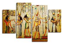HOT Framed 4Pieces/set Egyptian mural Wall Art For Wall Decor Home Decoration Picture Paint on Canvas Prints Painting(China)