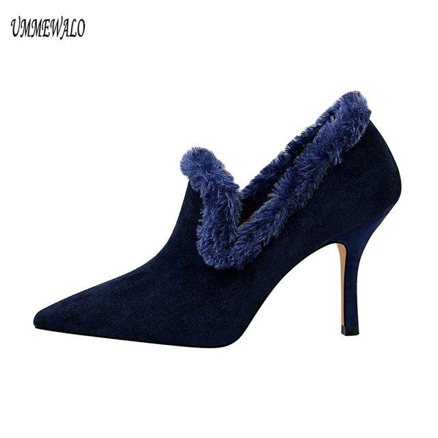 UMMEWALO Sivri Burun Seksi Akın Yüksek Topuklu Ayakkabı Kadın Sonbahar Kış Faux Kürk Bayanlar Ayakkabı Pompaları