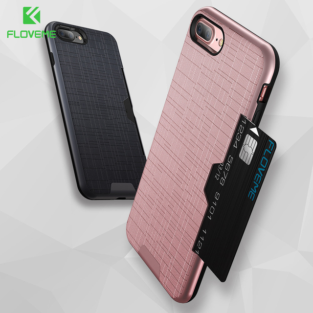 huge discount dd78f 7fb3f US $3.54 29% OFF FLOVEME Card slot Texture Case for iPhone 8 7 6s 8 plus  Case for iPhone 7 8 6 6s plus Side Insert Card Business Armor Cover Capa-in  ...