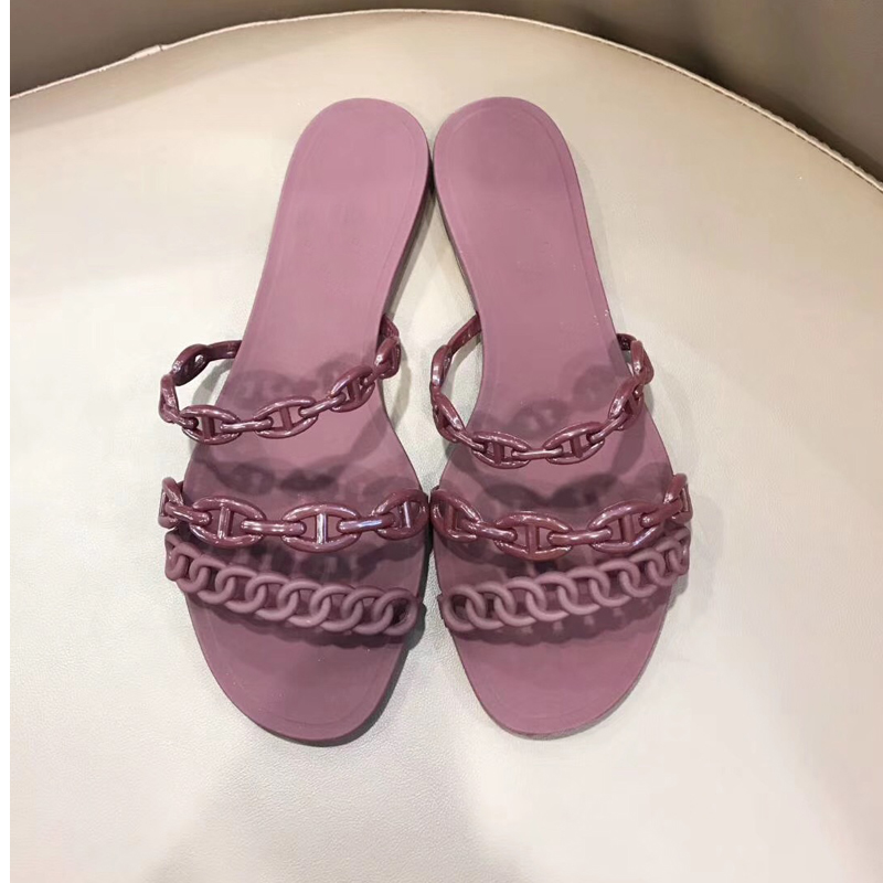 2019 Summer PVC Jelly Shoes Chains Solid Color Women Flat Shoes Beach Slippers in Slippers from Shoes