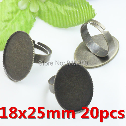 6 Sets Alliage Bronze mixte ovale plateau de verre Cameo cabines Broche Bricolage Accessoires