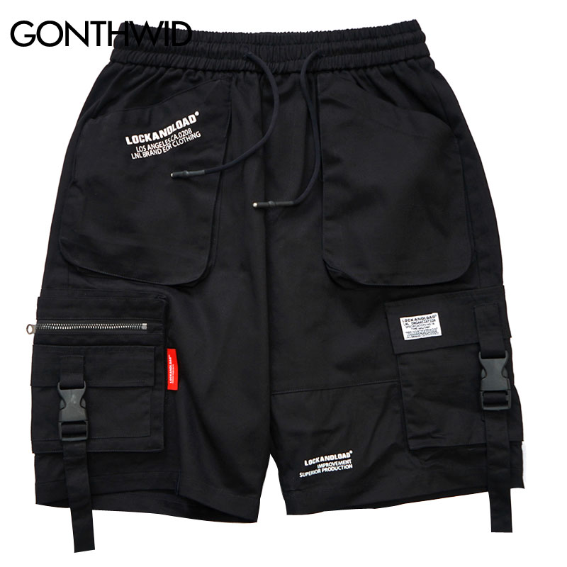 GONTHWID Men Side Strap Buckle Zipper Pocket Cargo Baggy 2019 Summer Hip Hop Casual