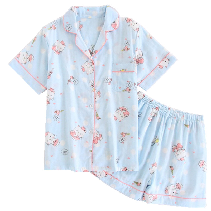 Summer Cute Cat short sleeves shorts   pajama     set   women 100% gauze cotton sexy shorts loungewear pink blue woman sweet pijamas