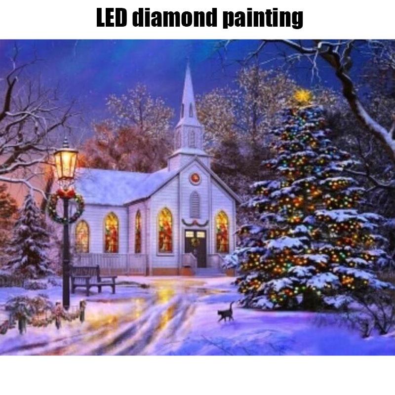 Lumière LED plein rond perceuse 5D bricolage diamant peinture 40x50 cm hiver hiver neige maison