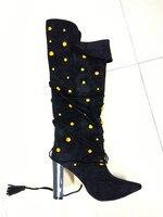Женские сапоги до середины икры, зимние женские пикантные сапоги с острым носком, на квадратном каблуке, с металлическими украшениями, замш...