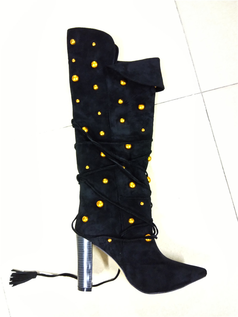 women mid-calf boots winter lady sexy pointed toe square heel metal decoration boot suede lace-up boot woman fashion shoes 35-42women mid-calf boots winter lady sexy pointed toe square heel metal decoration boot suede lace-up boot woman fashion shoes 35-42