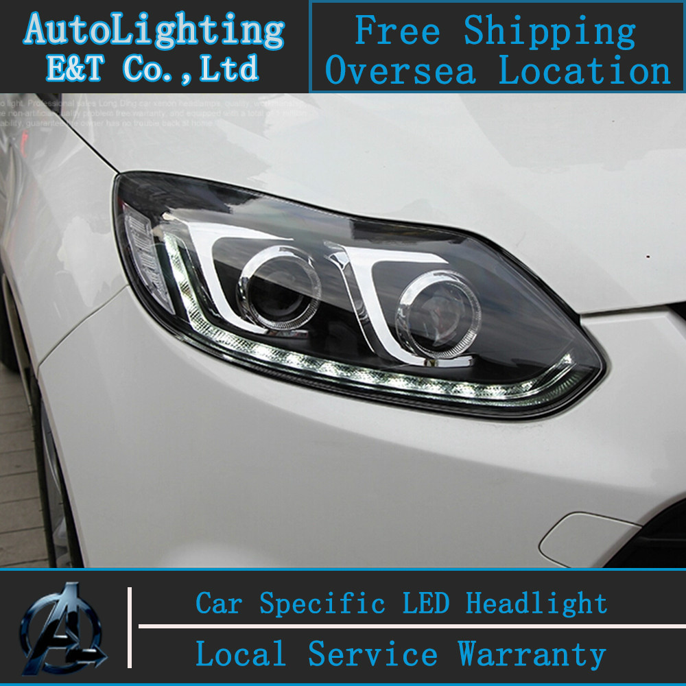 Car styling LED Head Lamp for Ford Focus 3 led headlights assembly 2012-2014 cob signal led drl H7 with hid kit 2 pcs. car styling head lamp for bmw e84 x1 led headlight assembly 2009 2014 e84 led drl h7 with hid kit 2 pcs