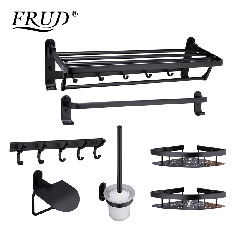 FRUD New Bathroom Hardware Sets Space Aluminum Gold Accessories Wall Mounted Towel Hook Bathroom Products Seven pieces Y18050