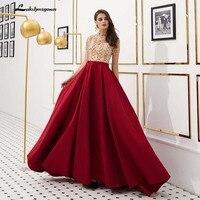 Роскошные бисерные вечерние платья с высоким вырезом, выпускное платье 2019, вечернее платье цвета шампанского, Платье de Soiree