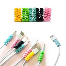 Спиральный кабель протектор линии передачи данных силиконовая намоточная машина защитный для iphone samsung Android USB наушники с зарядным