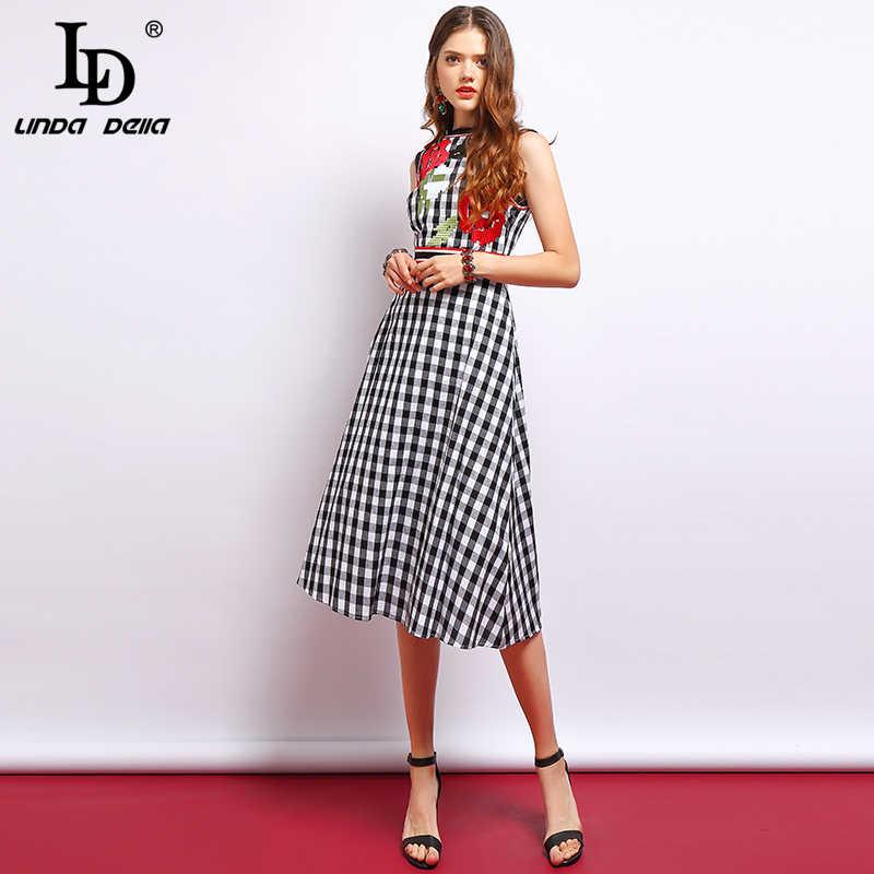 Женское модельное платье в клетку LD LINDA DELLA, элегантное винтажное черно-белое платье для отпуска без рукавов с цветочной вышивкой, лето 2019