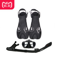 AILLOMA Adjustable Buckle Camera Diving Mask Snorkel Set Full Dry Tube Scuba Snorkeling Anti Fog Goggles Diver equipment Fins