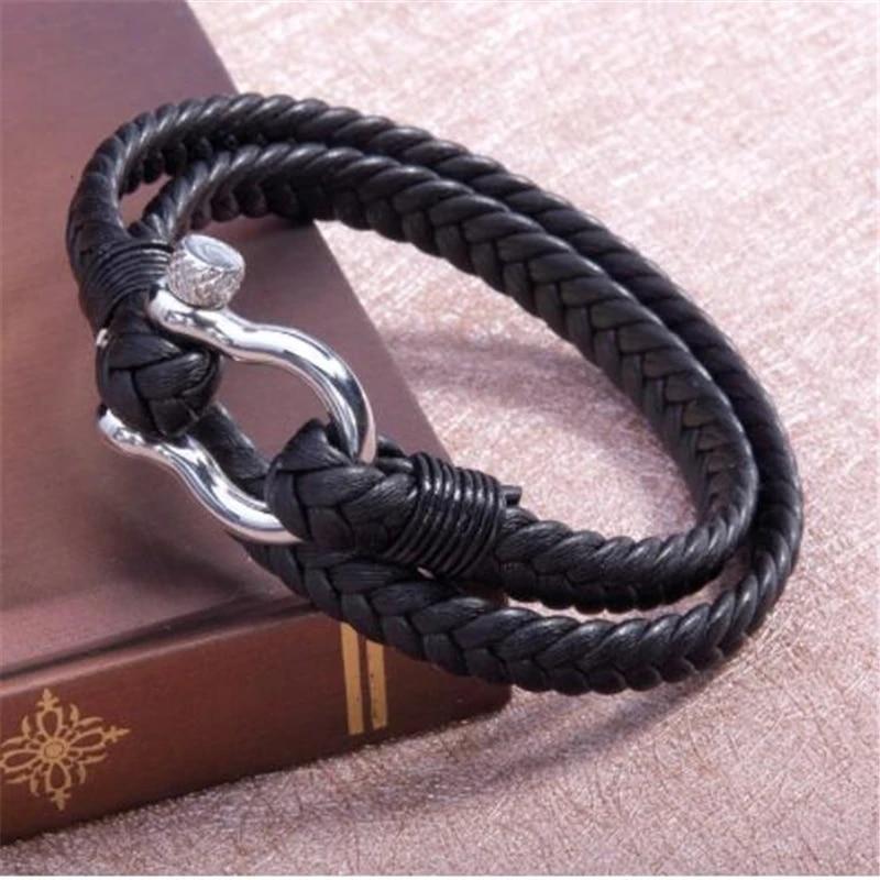 Mens paracord nautical stainless steel  shackle bracelet nautical wristband pulsera hombre sailing bracelet survival bracelet