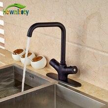 Термостатический Кухонный Кран Одно Отверстие Двойной Ручки Масло Втирают Бронзовый Отделка