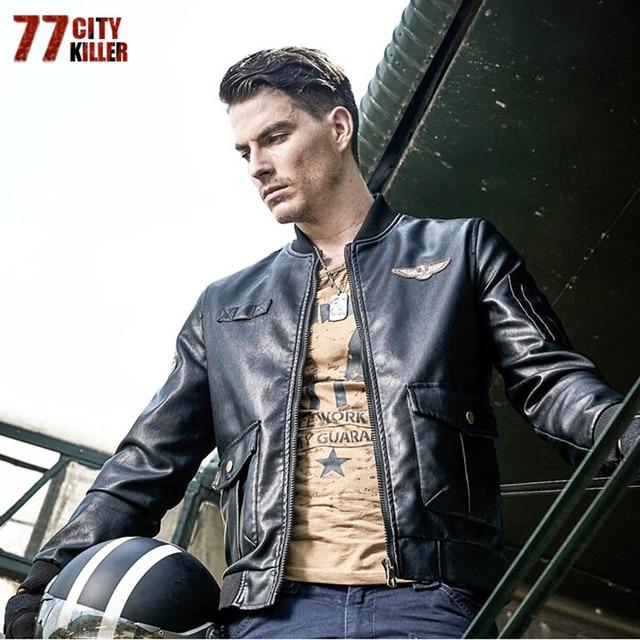 77City Killer New Arrive Men Leather Jackets Winter Pu Jacket Pocket Embroidery Motorcycle Coat Jaqueta De Couro Masculina J2606 Men's Jackets & Coats