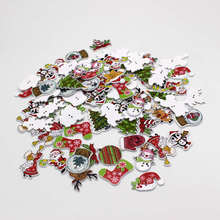 New 50Pcs/lot Random Mixed Christmas series buttons 2 Holes Wood Sewing Decorative Buttons Scrapbook For Crafts DIY Decor