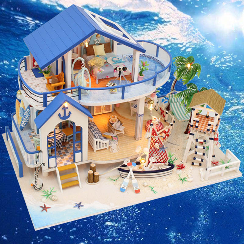 Miniature Dollhouse DIY Handcraft Kit Furnitures Wooden House Artwork Gift